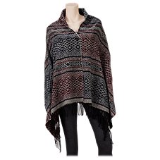 Quagga Cabernet Button-Front Poncho for Ladies