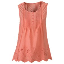 Natural Reflections Eyelet Pintuck Sleeveless Top for Ladies