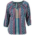 Natural Reflections Printed Peasant Blouse for Ladies