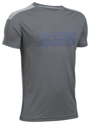 ?Under Armour Activate HeatGear T Shirt for Boys? Graphite/Overcast Gray L