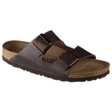 Birkenstock Arizona Soft Footbed Oiled Leather Dual Strap Sandals for Ladies