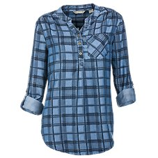 Natural Reflections Indigo Plaid Henley for Ladies