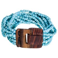 Pink House Mini Wood Buckle Turquoise Bead Stretch Bracelet