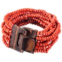 Pink House Mini Wood Buckle Red Bead Stretch Bracelet