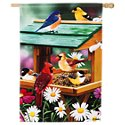 Evergreen Backyard Birds Spring Fest Satin Reflections House Flag