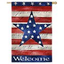 Evergreen Patriotic Welcome Suede Reflections House Flag
