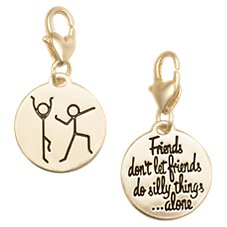 Amanda Blu Heartfelt Emotions Stick Figures/Friends Clip-On 2-Sided Medallion