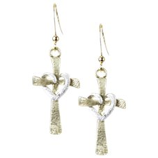 Amanda Blu Gold Cross Heart Earrings