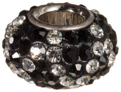 Amanda Blu Add-A-Bead Black and Diamond Zigzag Pave Crystal Bead - 3/8''