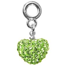 Amanda Blu Add-A-Bead Peridot Pave Dangle Heart Bead