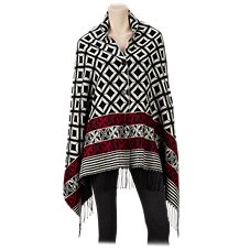 Quagga Diamond Button-Front Poncho for Ladies