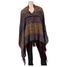 Quagga Graphite Stripes Poncho for Ladies