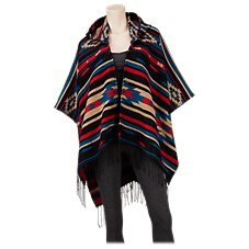 Quagga Mazarine Hooded Poncho for Ladies