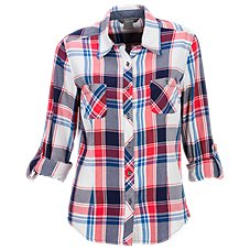 Natural Reflections Roll-Sleeve Plaid Shirt for Ladies