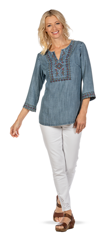 Get the Embroidered Chambray Tunic Look